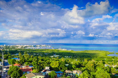 Photo Beautiful landscape view of the town of San Andres Island Colombia and Caribbean