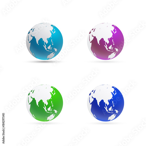 World Map Globe And Sphere Focus On East Asia And Australia Buy