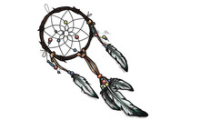 Hand Drawn Ornate Dreamcatcher With Feathers, Gemstones.