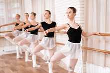 Girls Ballet Dancers Rehearse ...