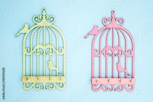 Poster de jardin Oiseaux en cage Wooden Key Hangers with Bird Cage Shape on Blue Wooden Background