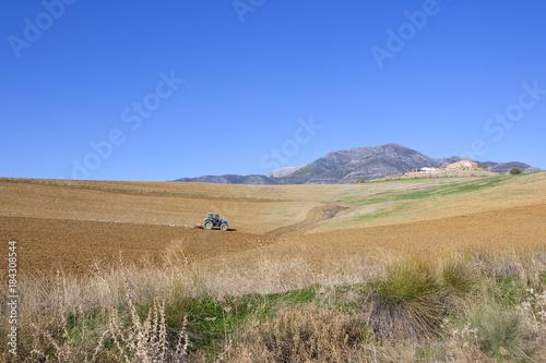 Spoed Foto op Canvas Natuur spanish farmland with tractor