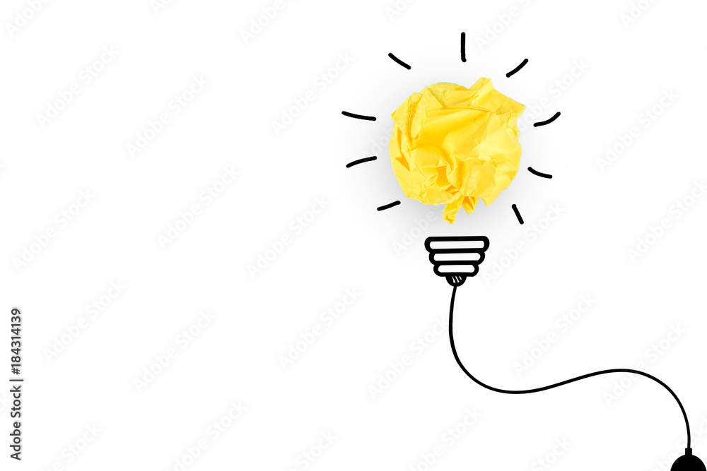 Fototapety, obrazy: Creative idea, Inspiration, New idea and Innovation concept with Crumpled Paper light bulb on white background.