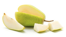 Open Green Pear With One Slice And Two Pieces Isolated On White Background.