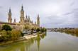 Cathedral of el Pilar and Ebro River in Zaragoza, Spain.