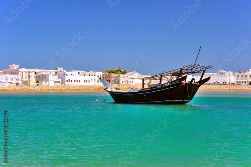 Lagoon and Harbour of toen .Sur with Dhow, Sultanate of Oman