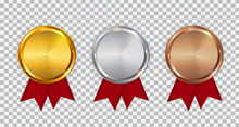 Champion Gold, Silver And Bronze Medal Template With Red Ribbon. Icon Sign Of First, Second  And Third Place Isolated On Transparent Background. Vector Illustration