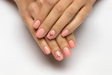 Pink Manicure With Golden Hearts On Nameless Fingers On Short Nails