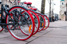 Red Tires Of Bicycles In A Row