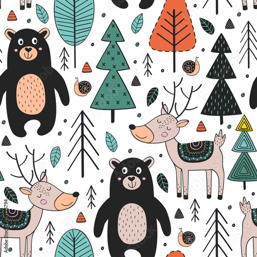 Photo  seamless pattern with animals in forest  Scandinavian style - vector illustratio