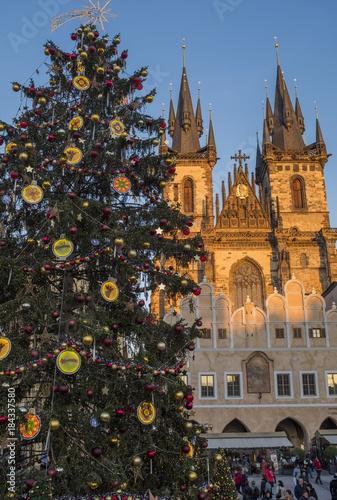 Tuinposter Fantasie Landschap Christmas time in Prague, Old Town Square
