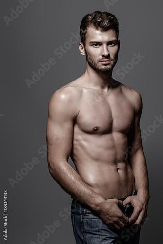 Deurstickers Akt shirtless sexy man