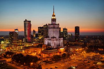 Panel Szklany Podświetlane Do biura Aerial photo of the Palace of Culture and Science in Warsaw P