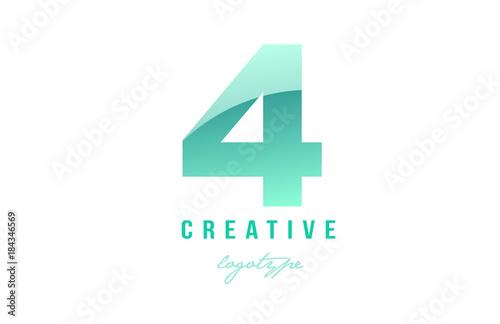 Photo  4  four green pastel gradient number numeral digit logo icon design