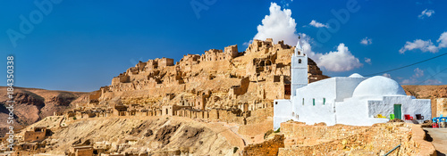 Panorama of Chenini, a fortified Berber village in South Tunisia Canvas Print