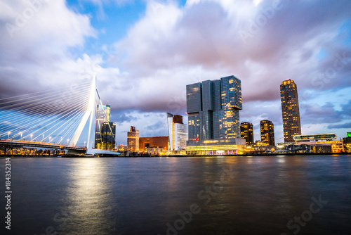 Staande foto Rotterdam Rotterdam city after sunset, dramatic sky. Holland, Western Europe