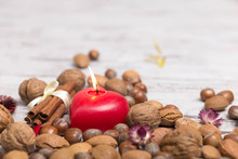 Red Heart Shape Candle And Nuts