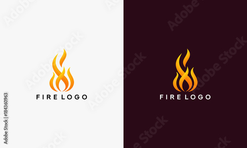 Photographie 3D Fire Flame Logo design vector template vector