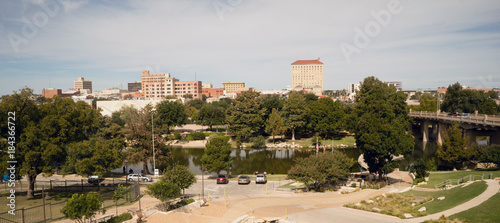 Poster Texas Fall Afternoon Blue Sky Lubbock Texas Downtown City Skyline Riverfront Park