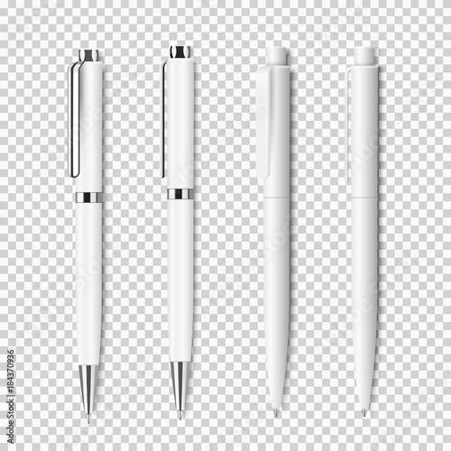 Cuadros en Lienzo  Set of white realistic pen on transparent background