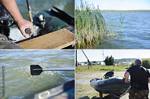 Poster Nautique motorise Collage. Man, inflatable boat, pond.