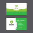 Vector modern creative and clean business card template, flat simple design with green color and shield symbol logo, business card vector template