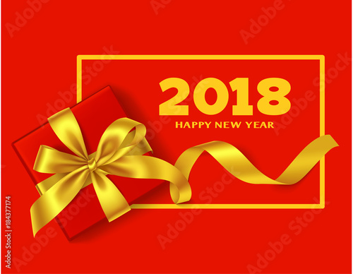 happy new year 2018 chinese new year background with traditional red gift box and yellow
