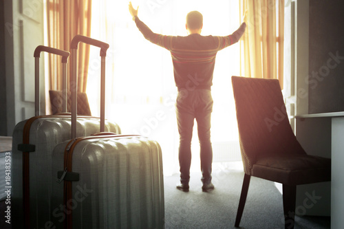 Mature businessman in a hotel room Canvas Print