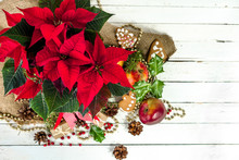 Christmas Table Decoration With Christmas Flower, Red Poinsettia, Top View