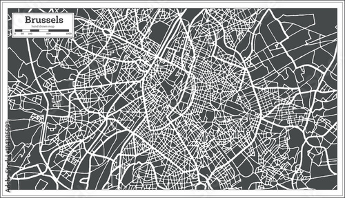 Obraz na plátně Brussels Belgium Map in Retro Style.