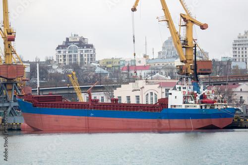Vessel dry cargo on loading, unloading in port  Bulker in