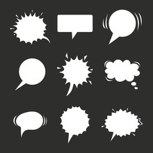 Cartoon Speech Balloons Collection On Chalkboard. Vintage Clouds Collection Sketch. Vector Illustration For Your Web Design.