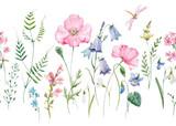 Fototapeta Kwiaty - Watercolor floral vector pattern