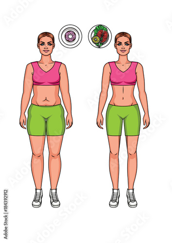 Pretty Girl Vector Cartoon Illustration In Fitness Clothes With Healthy And Unhealthy Food Two Body Women Types Overweight And Slim Weight Loss Before And After Illustration Buy This Stock Vector And