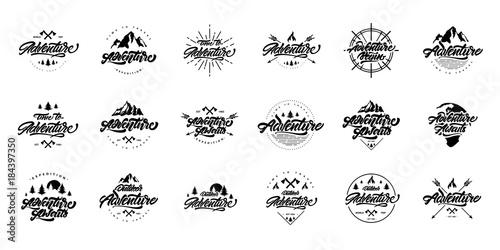 Fotografia  Big black and white Adventure lettering set logos