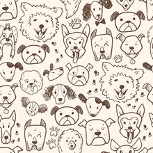 Funny Doodle Dog Icons Seamles...
