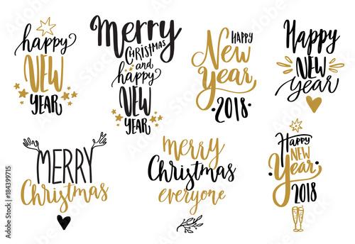 Obraz na plátně  Happy new year calligraphy set