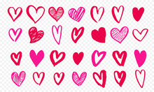 Hearts Icons Hand Drawn For Valentines Day, Save The Date Or Wedding Invitation Greeting Card Design. Vector Valentines Love Pink Red Marker Highlighter Hearts Isolated On Transparent Background