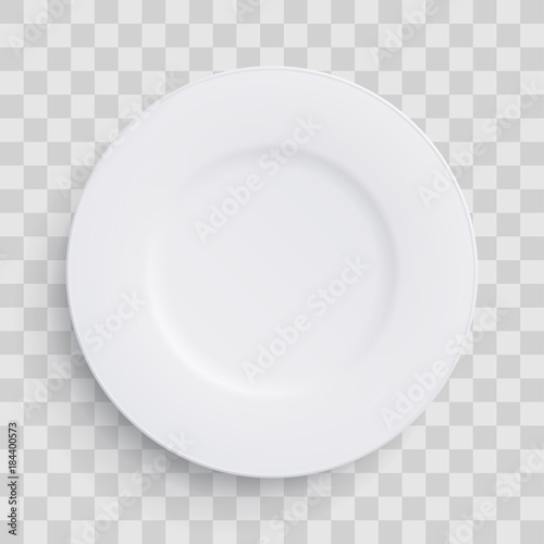 Fototapeta Plate dish 3D white round isolated on transparent background. Vector realistic porcelain flat empty plate or disposable plastic or paper kitchenware obraz