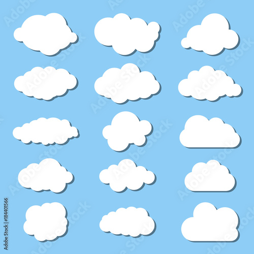 Poster Ciel white clouds collection on a blue background