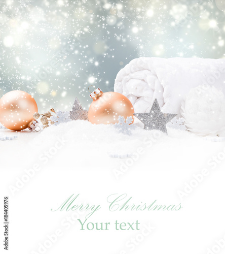718522eb046f4 Christmas decoration in snow. Celebration concept. - Buy this stock ...
