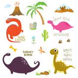 Fototapeta Dinusie - Dinosaur footprint, Volcano, Palm tree, Stones, Bone and Cactus