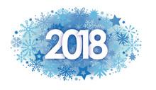 Neujahr 2018 - Happy New Year. Ziffern Vor Dekorativem Blauen Hintergrund