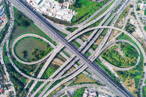 Traffic road junction view from above with green tree Canvas
