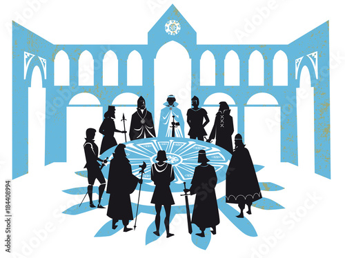 king Arthur and the Knights of round table Wallpaper Mural