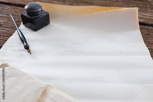 Ink Pot Ink Pen And Legal Documents Arranged On Table Buy This - Buy legal documents