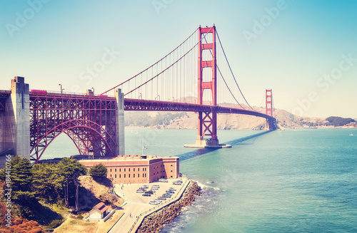 Fotobehang San Francisco Panoramic picture of the Golden Gate Bridge, color toned image, San Francisco, USA.