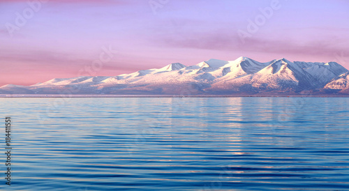 Poster Purple Manasarovar lake at sunrise in Western Tibet, China