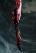 Bloody Knife. Hand Holds A Blo...