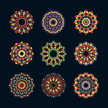 Kaleidoscope Geometric Flower Patterns - Different Elements Set